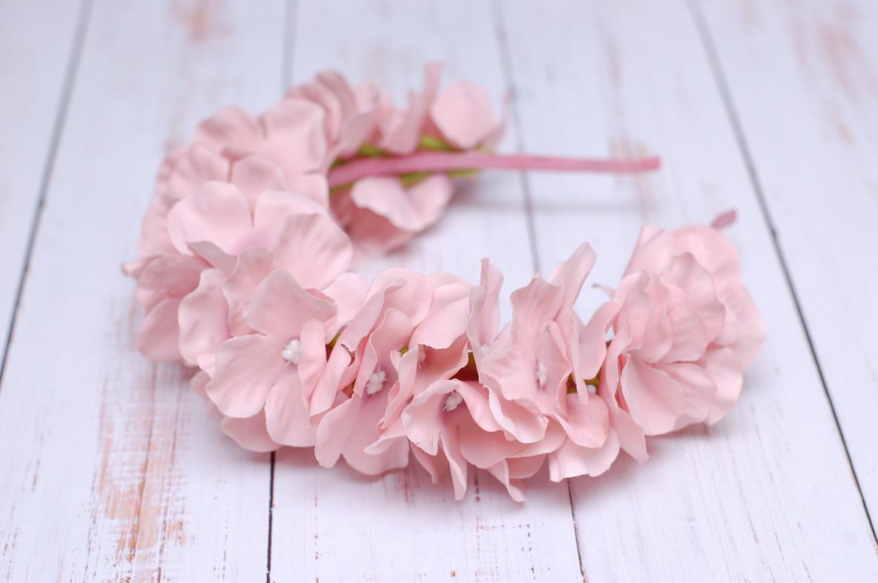Обруч Розовая пудра Гортензия