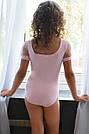 Купальник для танцев нежно-розовый с рукавами-фонариками , фото 2