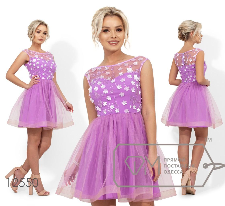 Платье беби-долл с лифом из сетки и 3D цветами на покдладе 12550