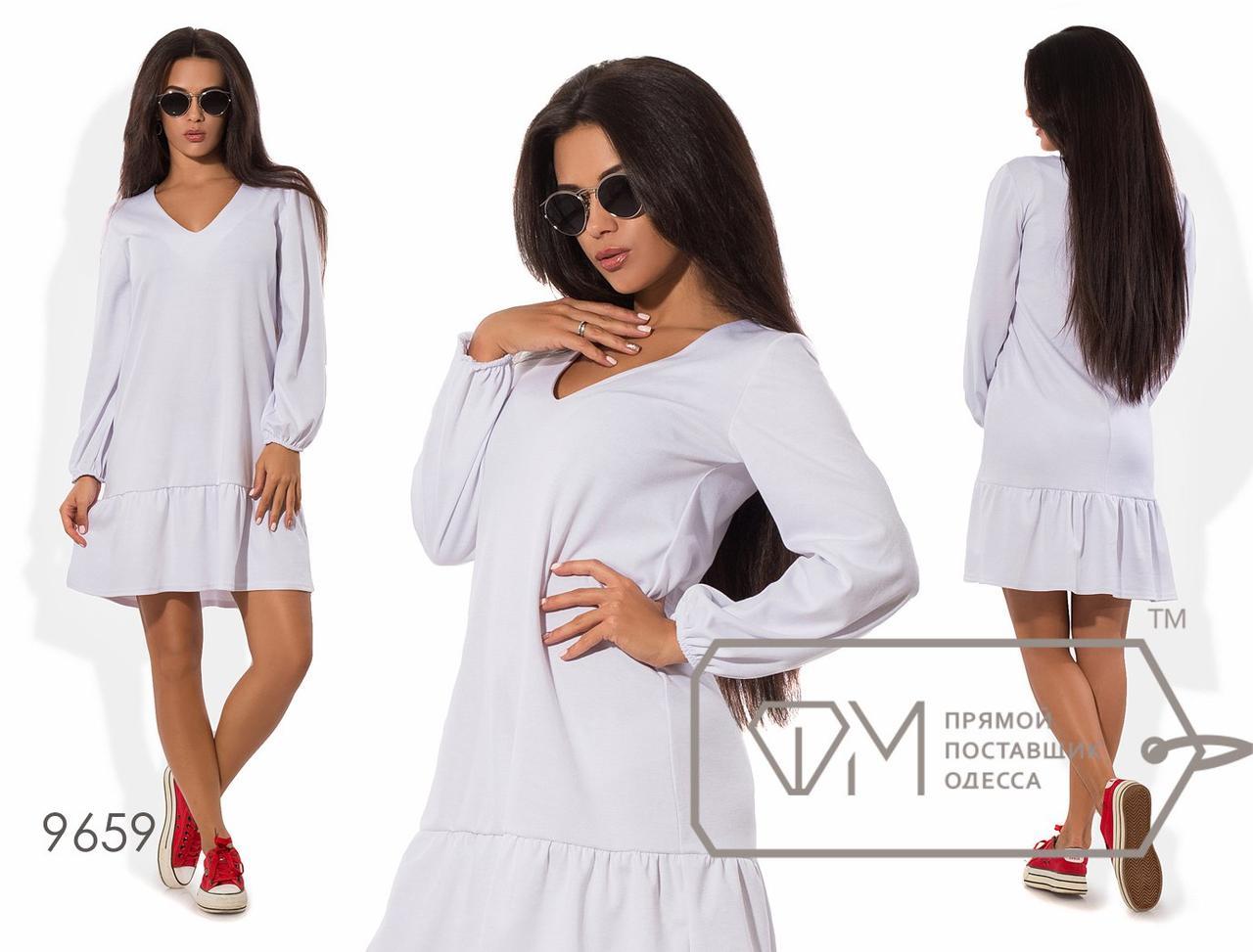 Платье мини прямое из французского трикотажа с V-вырезом, присборенными рукавами на резинках и широкой оборкой по подолу 9659