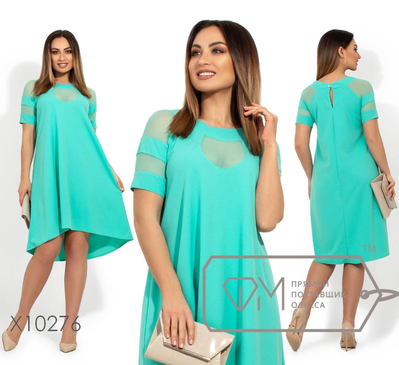 Платье из креп дайвинга с кокеткой из сетки короткими рукавами и асимметричным подолом X10276