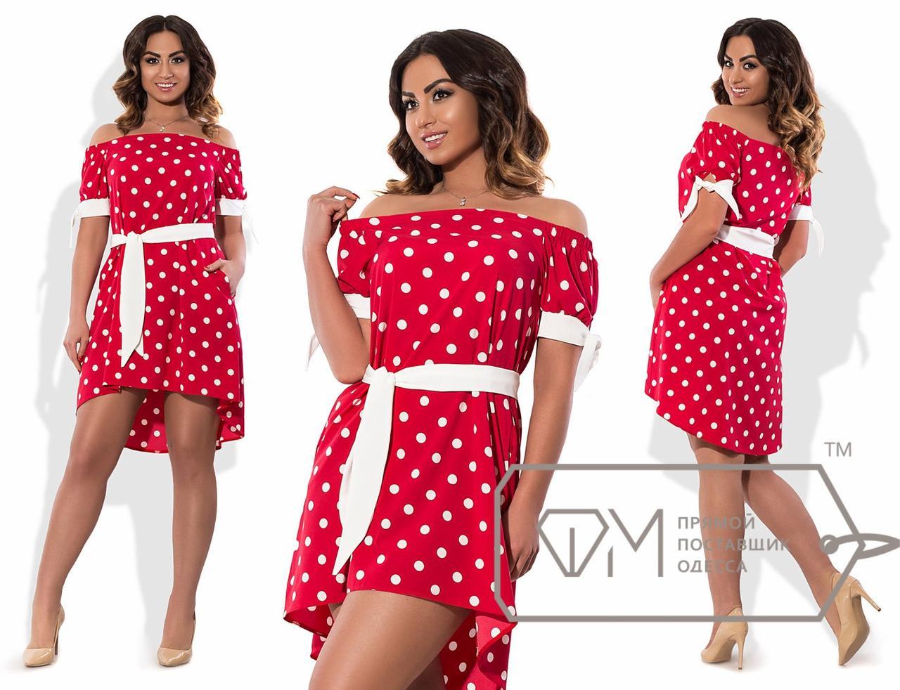 Платье-трапеция мини из софта с вырезом анжелика, рукавами-буфами на манжетах-завязках, асимметричным подолом и поясом X6143