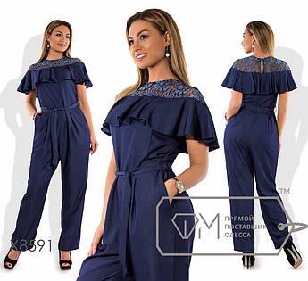 Комбинезон однотонный из летнего джинса с гипюром и оборкой на груди, карманами в швах и пояском в комплекте X8591