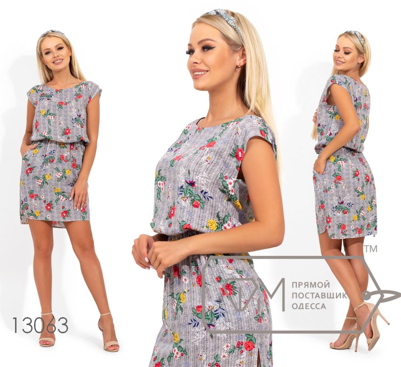 Платье-шемиза из стрейч вискозы с резинкой на талии, вырезом-лодочкой и разрезами на разноуровневом подоле 13063
