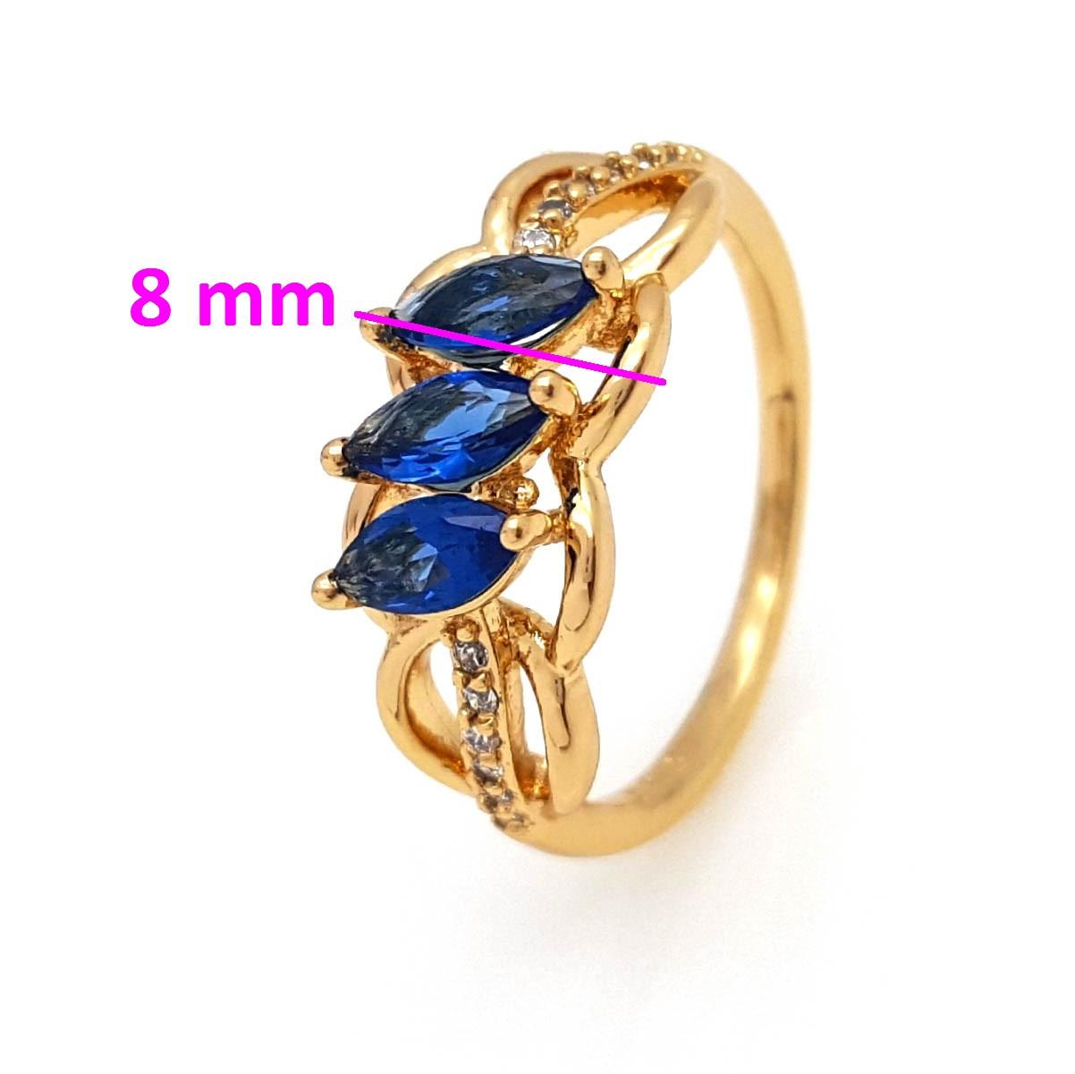 Кольцо Колосок, с миндальным синим цирконием, р.17, р.18, р.18,5, позолота Xuping