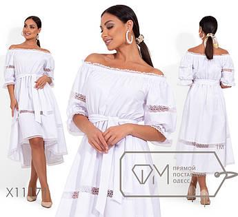 Пышное белое платье с вырезом анжелика, гипюровыми прозрачными вставками, рукавами 3/4 и шлейфом (по талии на резинке+пояс) X11171