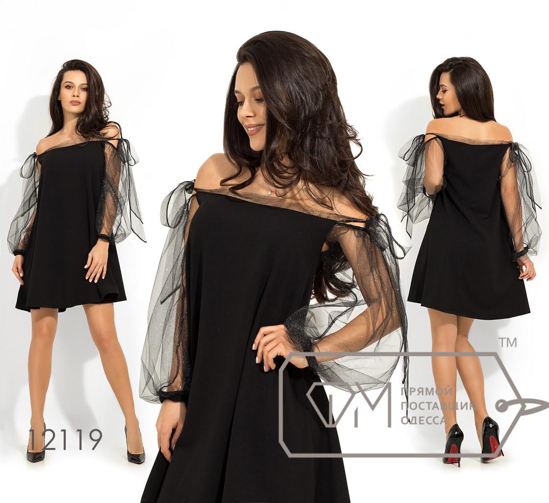 Платье-мини покроя трапеция с оголенными плечами и спущенными рукавами-фонарик из сетки с напылением 12119