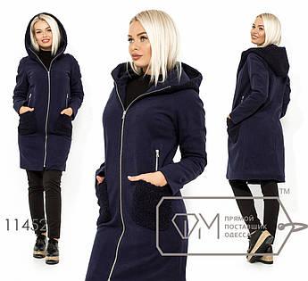 Кашемировое пальто на флисе с капюшоном из эко-каракуля, с вшитыми и накладными карманами 11452