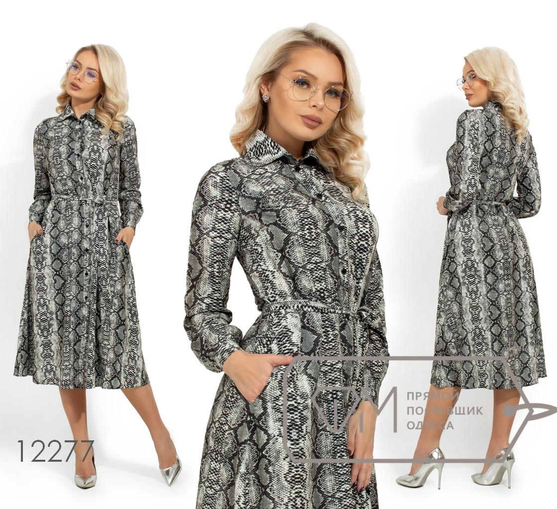 Платье-миди из софта под пояс с змеиным принтом, застежкой на пуговках по всей длине и прорезными карманами 12277