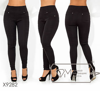 Леггинсы с высокой посадкой из ткани джинс-стрейч (диагональ) с жемчужинами и стразами X9282