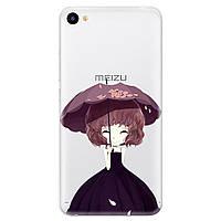 Чехол с рисунком Printed Silicone для Meizu U10 Девочка С Зонтом
