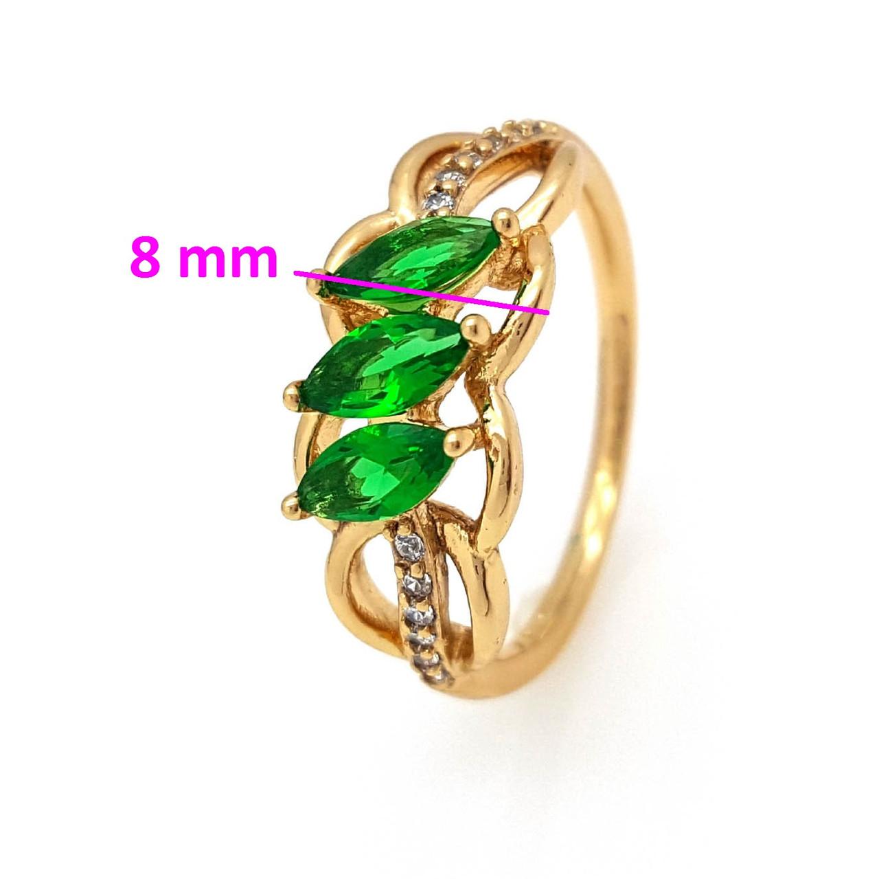 Кольцо Колосок, с миндальным зеленым цирконием, р.17, р.18, р.18,5, позолота Xuping