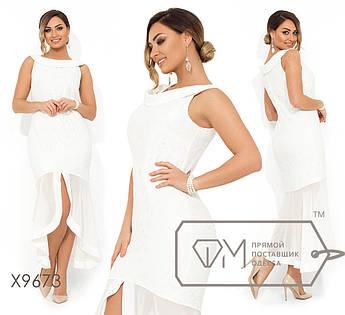 Гипюровое платье на бретелях с воротником анжелика и шифоновым асимметричным подолом X9673