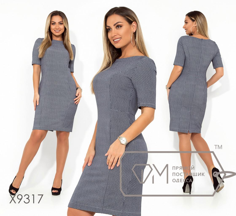Платье-футляр миди из принтованного плательного крепа с фигурными швами и рукавами 3/4 X9317