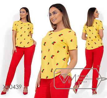 Летний яркий комплект из льна, блуза с круглым вырезом и короткими рукавами, брюки прямые на резинке с карманами X10439