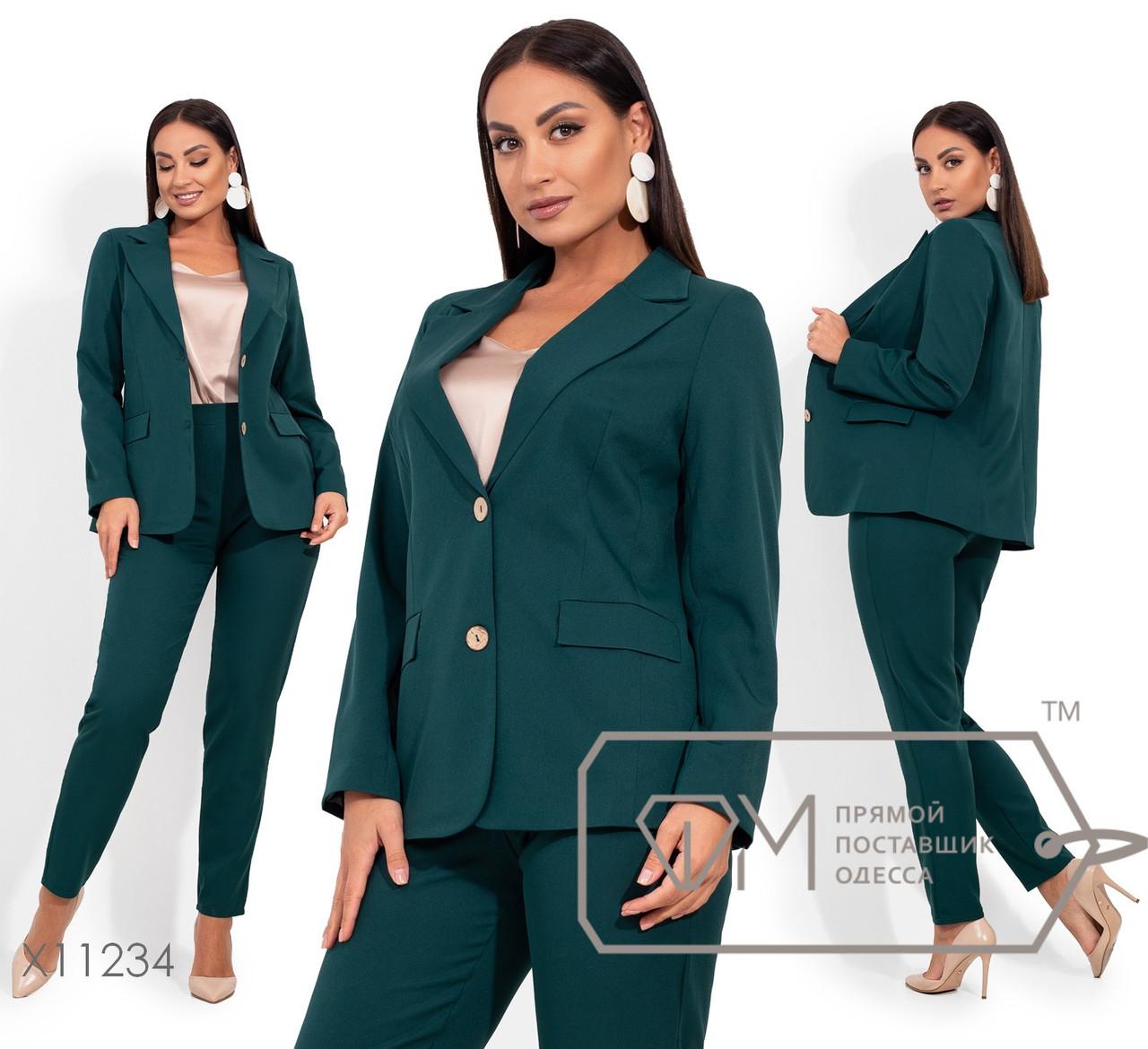 Костюм: пиджак с подкладом, лацканами, прорезными карманами в рамку, застегивается на две деревяные пуговицы, брюки зауженные, на резинке X11234