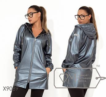 Демисезонная удлиненная куртка из экокожи с капюшоном, прорезными карманами и манжетами на резинке (без подклада) X9089