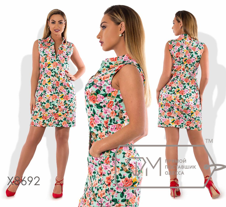 Платье-шифт мини прямого кроя из стрейч коттона с V-образным вырезом и воротником стойка (есть карманы) X8692