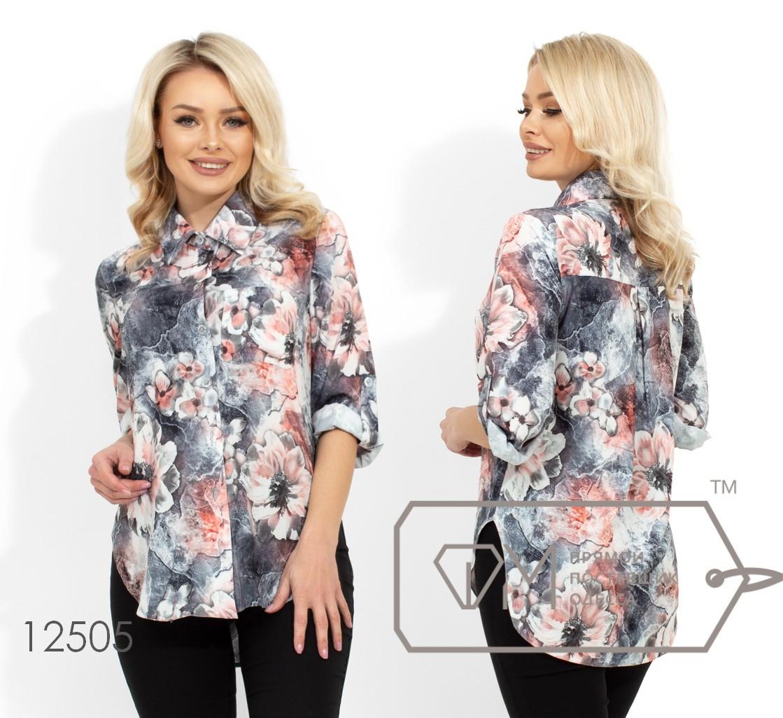 Рубашка из софта с накладным карманом на груди, стояче-отложным воротником и круглыми углами на подоле 12505