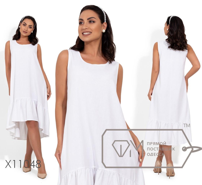 Платье-миди, покроя трапеция с оборкой на асимметричном подоле X11048