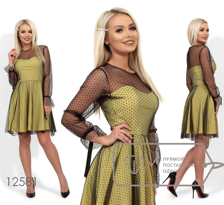 Платье-мини с вискозным подкладом, несъемной накидкой из сетки, длинными рукавами и не обработанным подолом 12581