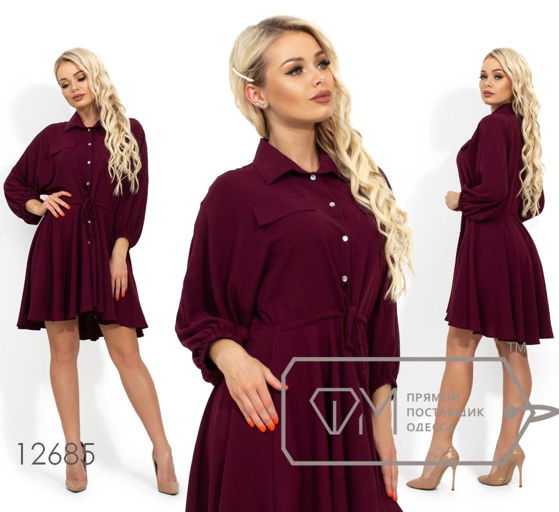 Платье-миди с цельнокроенным верхом, застежкой на пуговицах по всей длине, кулиской по талии, рукавами 3/4 на резинке и асимметричным подолом 12685