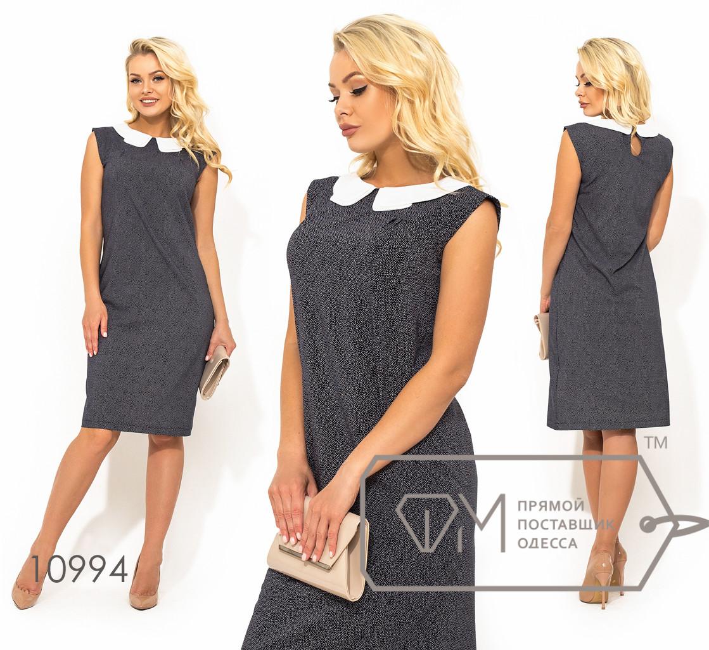 Платье шифт из вискозы прямого кроя без рукавов с контрастный воротником питер пэн (принт горошек) 10994