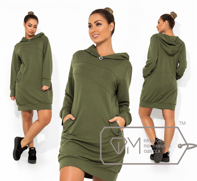 Платье-мини в стиле спорт-шик из двунитки с капюшоном, декорированно пуговицами на карманах и юбке сзади с манжетами на рукавах и подоле X9225