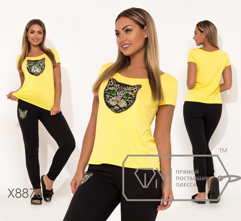 """Костюм-двойка декорирован аппликацией """"кошка"""" из пайеток и жемчужинами, футболка из вискозы брюки с манжетом из двунитки X8876"""