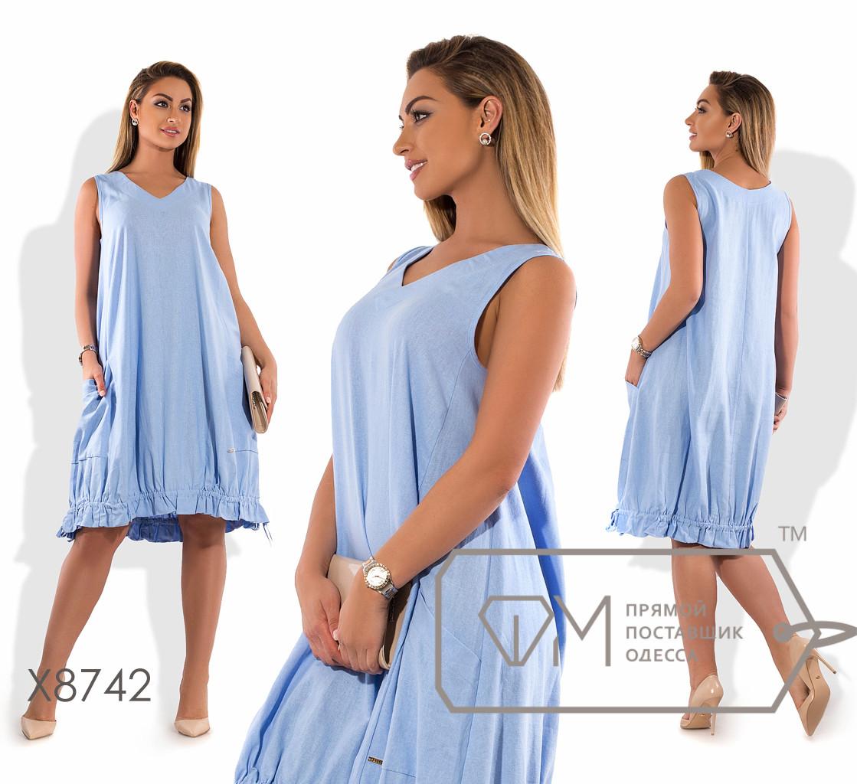 """Платье-миди из льна покроя """"кокон"""" без рукавов с V-образным вырезом накладными карманами и регулируемой оборкой на подоле X8742"""