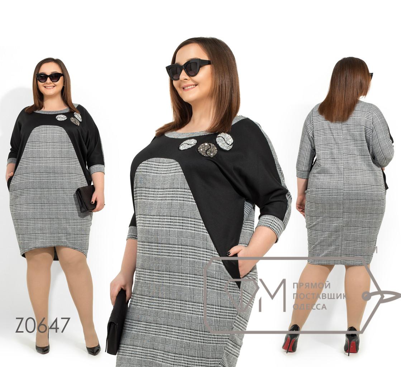 Трикотажное платье больших размеров средней длины с вырезом лодочка, рукавами 3/4 и аппликацией из страз Z0647