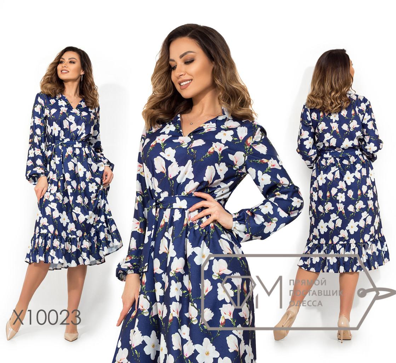 Платье-миди прямого кроя под пояс c отложным воротником, лацканами, рукавами-фонариками на резинке и подолом-воланом X10023