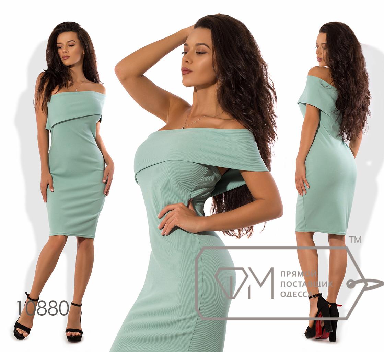 "Платье-футляр мини из трикотажа ""резинка"" на одно плечо и резинкой в области лифа 10880"