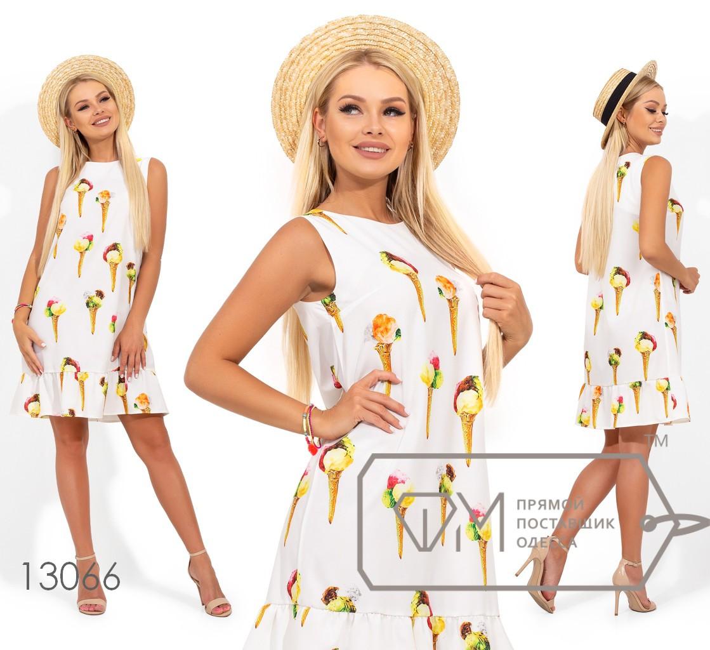Платье-трапеция мини из коттона с вышивкой без рукавов с ювелирным вырезом и оборкой на юбке 13066