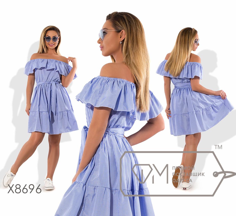 Платье-трапеция мини из коттона под пояс с оборками на эластичном вырезе анжелика и подоле (принт квадратик) X8696