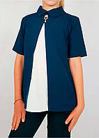 Блузка в школу блузка двухцветная (бело-синяя)