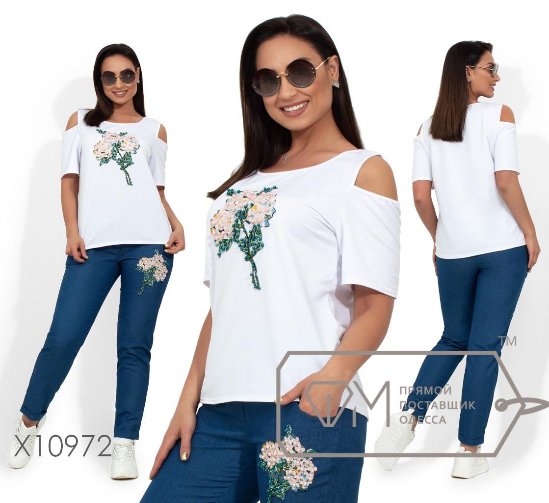 Комплект: футболка из двунитки с разрезами на плечах и аппликацией из жемчужин, зауженные брюки на резинке из джинса X10972