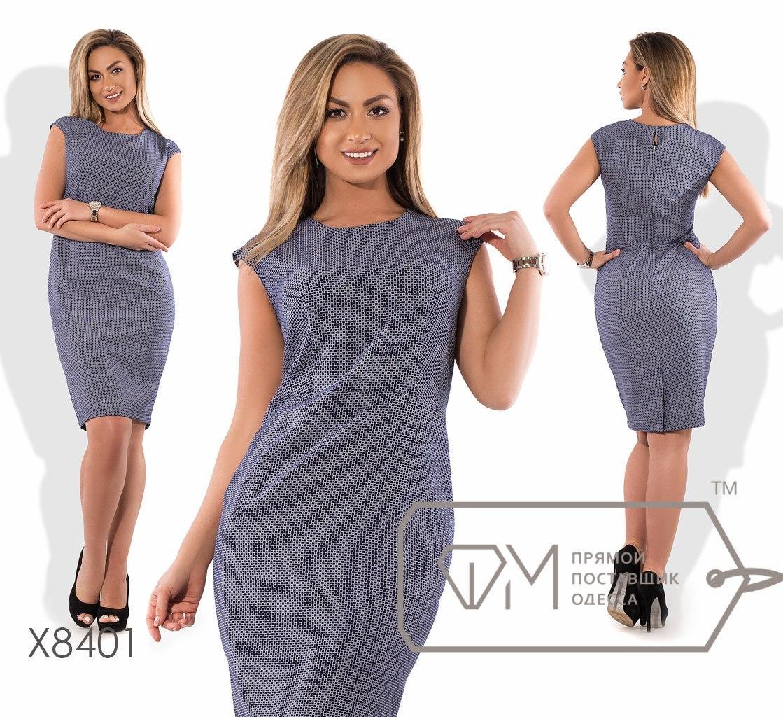 Платье-футляр миди приталенное из принтованного плательного крепа без рукавов с ювелирным вырезом и шлицей X8401