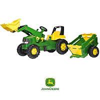 Трактор педальный с прицепом и ковшом Rolly Toys rollyJunior John Deere 3-8 Лет (811496)
