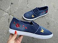 Мокасины женские синий джинс Украина оптом Крок, фото 1