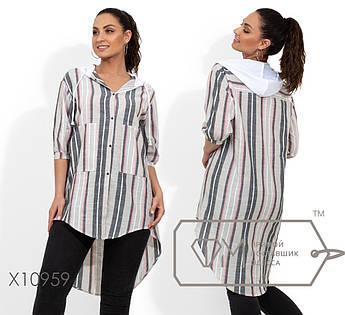 Рубашка-фрак в полоску, с застежкой на кнопках по все длине, рукавами-фонариками и накладными карманами по лицевой стороне X10959