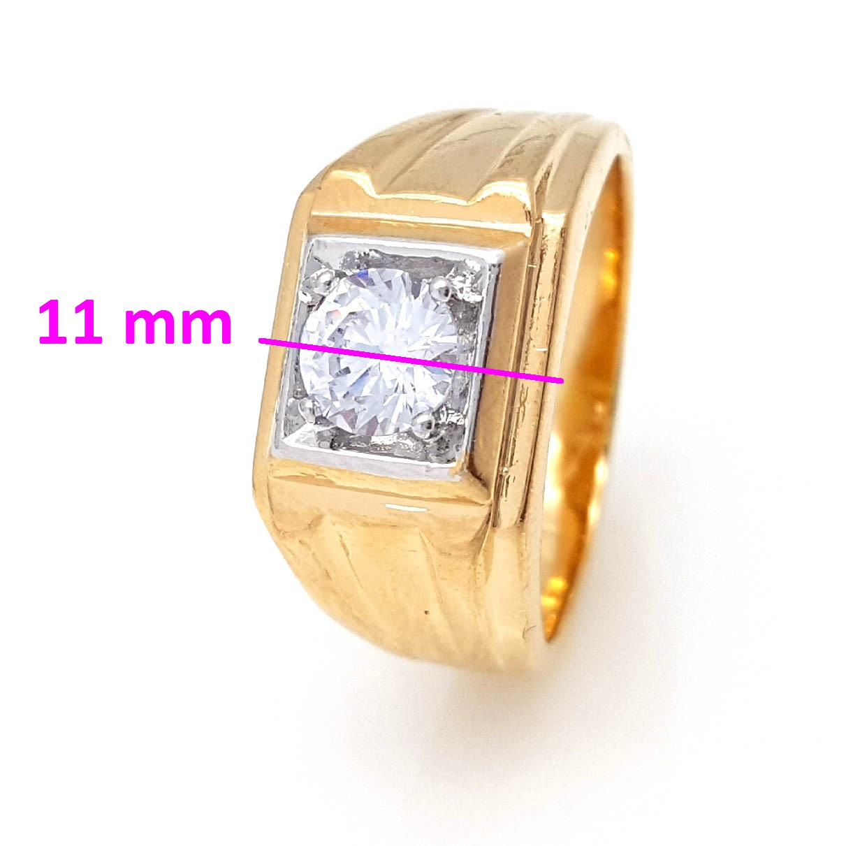 Кольцо Печатка с цирконием, р.19,5 ,р.20,5, позолота+родий, Xuping