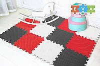 """Мягкий пол коврик-пазл """"Радуга"""" Eva-Line 200*150*1 см Серый/Белый/Красный"""
