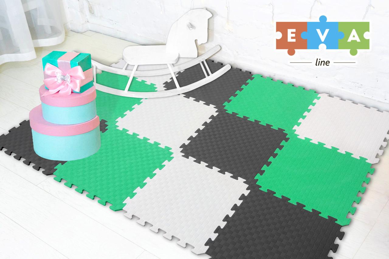 """Мягкий пол коврик-пазл """"Радуга"""" Eva-Line 200*150*1 см Серый/Белый/Зеленый"""