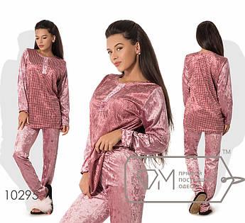 Домашний костюм из велюра - туника с принтованной основой, разрезами по бокам и вырезом на застёжке плюс прямые штаны 10295