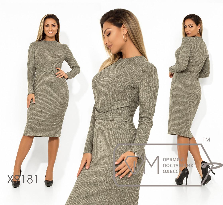 Платье-миди приталенного кроя из трикотажа-люрекс с ювелирным вырезом длинными рукавами и декоративным пояском X9181