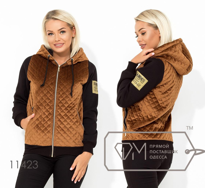 Куртка из велюра-стежка с подкладом синтепон 100 капюшоном и рукавами из трикотажа на флисе 11423