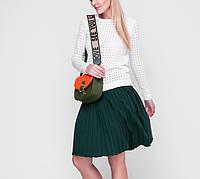 Женская легкая хлопковая плиссированная юбка в складку до колена \ школьная юбка, фото 1
