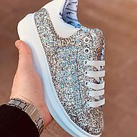 Женские кеды кроссовки с золотыми блестками Alexander McQueen
