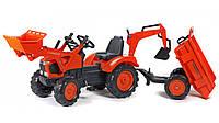 Детский трактор на педалях с прицепом, передним и задним ковшом KUBOTA FALK (2090Z)